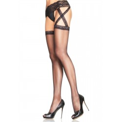 Criss Cross Sheer Black Suspender Stockings  - Pack of 3 Fetish Fashions  Fetish Wear | Fetishwear in Leather Latex, Rubber, Bondage Clothing and Sky High Heels