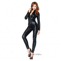 Zipper Front Black Lame Catsuit Fetish Fashions  Fetish Wear | Fetishwear in Leather Latex, Rubber, Bondage Clothing and Sky High Heels