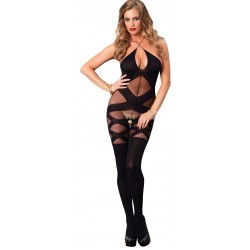 Illusion Halter Opaque Black Bodystocking Fetish Fashions  Fetish Wear | Fetishwear in Leather Latex, Rubber, Bondage Clothing and Sky High Heels