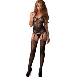 Jacquard Lace Black Suspender Bodystocking Fetish Fashions  Fetish Wear | Fetishwear in Leather Latex, Rubber, Bondage Clothing and Sky High Heels