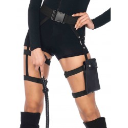 Strappy Black Utility Belt with Leg Garter Fetish Fashions  Fetish Wear | Fetishwear in Leather Latex, Rubber, Bondage Clothing and Sky High Heels