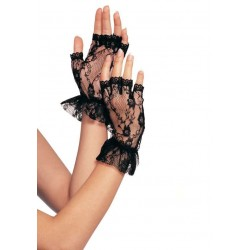 Ruffled Lace Wrist Length Fingerless Gloves Fetish Fashions  Fetish Wear | Fetishwear in Leather Latex, Rubber, Bondage Clothing and Sky High Heels