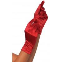 Red Wrist Length Satin Gloves