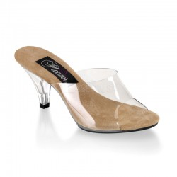 Belle Clear and Tan Peep Toe Slide Fetish Fashions  Fetish Wear | Fetishwear in Leather Latex, Rubber, Bondage Clothing and Sky High Heels