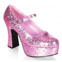 Baby Pink Mary Jane Glitter Square Heeled Pump Fetish Fashions  Fetish Wear   Fetishwear in Leather Latex, Rubber, Bondage Clothing and Sky High Heels