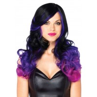 Allure Black Wig with Purple Tips