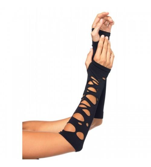 Black Shredded Arm Warmers at Fetish Fashions,  Fetish Wear | Fetishwear in Leather Latex, Rubber, Bondage Clothing and Sky High Heels