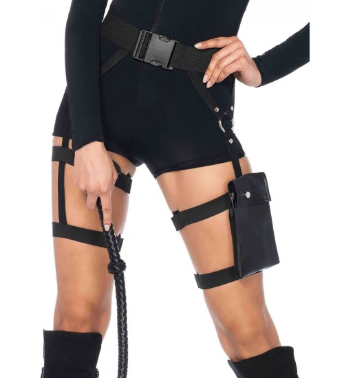 Strappy Black Utility Belt with Leg Garter at Fetish Fashions,  Fetish Wear | Fetishwear in Leather Latex, Rubber, Bondage Clothing and Sky High Heels