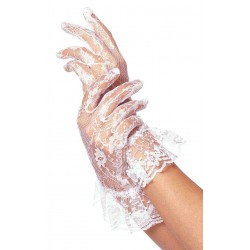 White Ruffled Lace Wrist Length Gloves Fetish Fashions  Fetish Wear | Fetishwear in Leather Latex, Rubber, Bondage Clothing and Sky High Heels