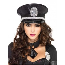 Black Sequin Cop Costume Hat Fetish Fashions  Fetish Wear | Fetishwear in Leather Latex, Rubber, Bondage Clothing and Sky High Heels