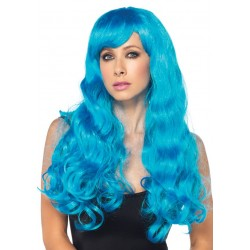 Neon Blue Long Wavy Wig Fetish Fashions  Fetish Wear | Fetishwear in Leather Latex, Rubber, Bondage Clothing and Sky High Heels