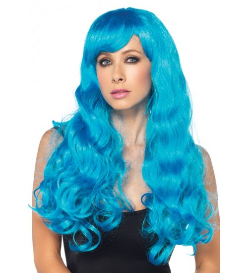 Neon Blue Long Wavy Wig at Fetish Fashions,  Fetish Wear | Fetishwear in Leather Latex, Rubber, Bondage Clothing and Sky High Heels