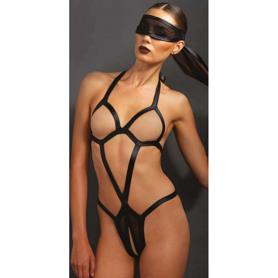 Leather crotchless bikini