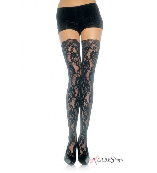 Black Rose Lace Thigh High Stockings at Fetish Fashions,  Fetish Wear   Fetishwear in Leather Latex, Rubber, Bondage Clothing and Sky High Heels