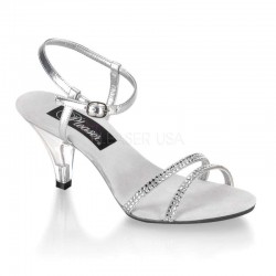 Belle Rhinestone Silver Sandal - Size 11 Fetish Fashions  Fetish Wear | Leather, Bondage, Latex, Rubber, Sky High Heels