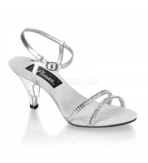 Belle Rhinestone Silver Sandal - Size 11 at Fetish Fashions,  Fetish Wear | Leather, Bondage, Latex, Rubber, Sky High Heels
