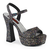 Dolly Black Glitter Platform Chunky Heel Sandal