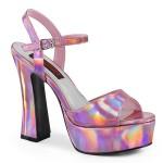 Dolly Pink Hologram Platform Chunky Heel Sandal