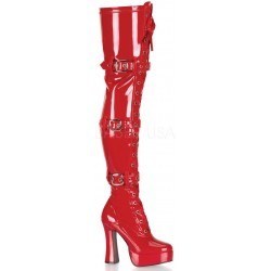 Electra Red Buckled Thigh High Platform Boots