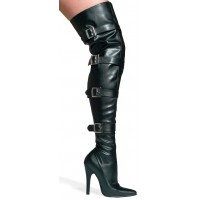 Buckle Up Black Faux Leather Thigh High 5 Inch Heel Boot
