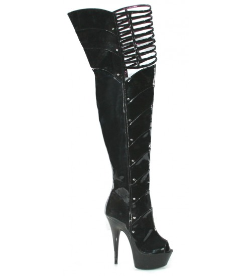 Katrina Peep Toe Thigh High Platform Boots at Fetish Fashions,  Fetish Wear | Fetishwear in Leather Latex, Rubber, Bondage Clothing and Sky High Heels