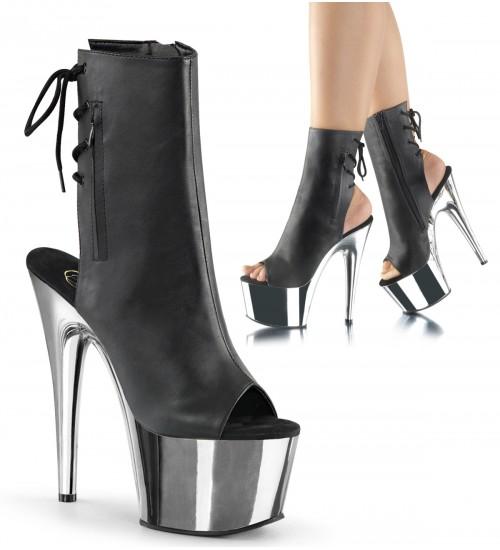 Chrome Heel Black Peep Toe and Heel Platform Ankle Boot at Fetish Fashions,  Fetish Wear | Fetishwear in Leather Latex, Rubber, Bondage Clothing and Sky High Heels