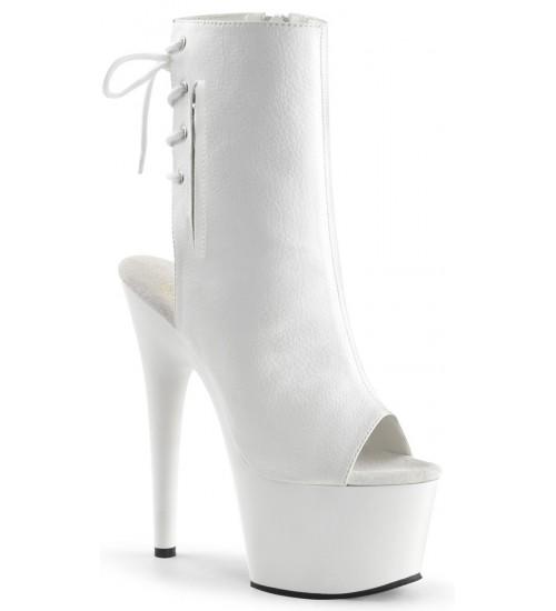 White Peep Toe and Heel Platform Ankle Boot