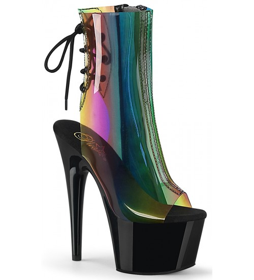 Rainbow Black Platform Ankle Boot at Fetish Fashions,  Fetish Wear | Fetishwear in Leather Latex, Rubber, Bondage Clothing and Sky High Heels