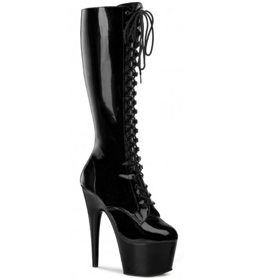 Adore Knee High Black Patent Platform Granny Boot at Fetish Fashions,  Fetish Wear | Fetishwear in Leather Latex, Rubber, Bondage Clothing and Sky High Heels