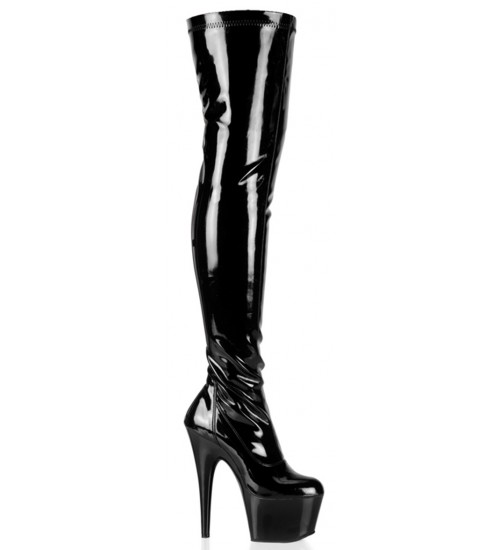 Adore Black Patent Thigh High Platform Boot at Fetish Fashions,  Fetish Wear | Fetishwear in Leather Latex, Rubber, Bondage Clothing and Sky High Heels