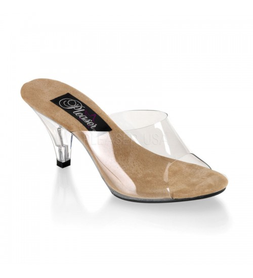 Belle Clear and Tan Peep Toe Slide at Fetish Fashions,  Fetish Wear | Fetishwear in Leather Latex, Rubber, Bondage Clothing and Sky High Heels