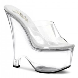 Beau Clear Wedge Peep Toe Mule