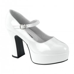 White Mary Jane Square Heeled Pump