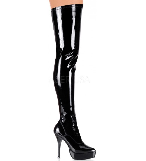 Black Indulge Faux Patent Leather Stiletto Heel Boot at Fetish Fashions,  Fetish Wear | Fetishwear in Leather Latex, Rubber, Bondage Clothing and Sky High Heels