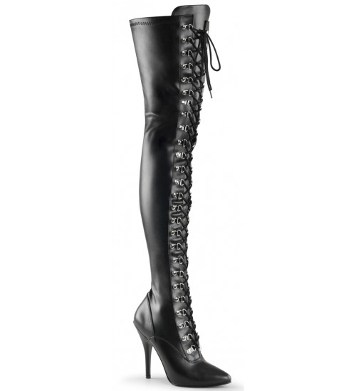 Seduce Lace Up Thigh High Boots