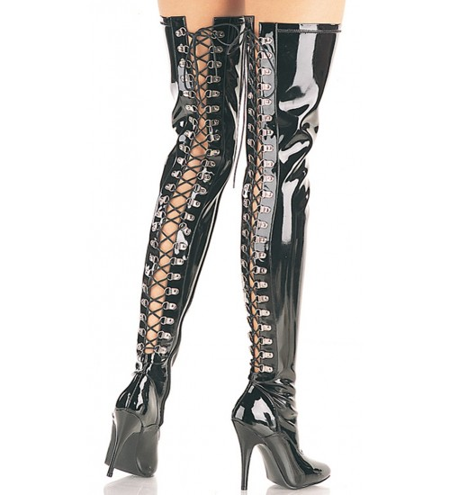 Seduce Back Lacing Black Patent Thigh High Boots