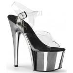Silver Chrome Platform Clear Strap Platform Sandal